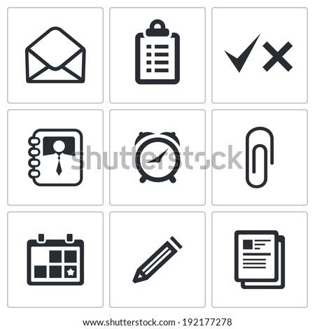 office icons set - stock photo