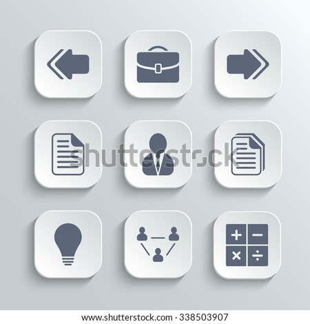 Office icons set - white app buttons with left right arrows document copy man avatar lamp team network calculator
