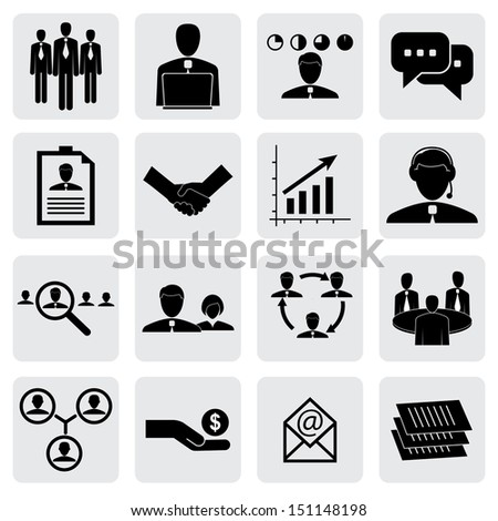 office icons ( signs ) of people & concepts for business- graphic. This illustration can also represent employees & manager, receiving salary, hiring executives, handshake, people working, talking - stock photo
