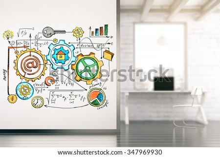 Office in a loft style with a white wall on which is drawn a business plan 3D Render - stock photo