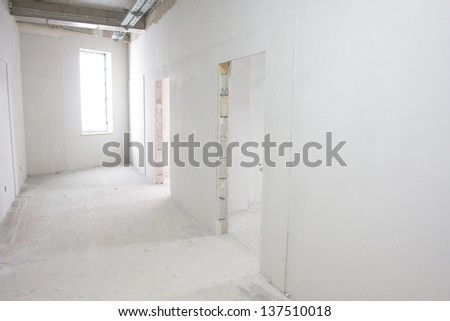 Office in the course of construction - stock photo