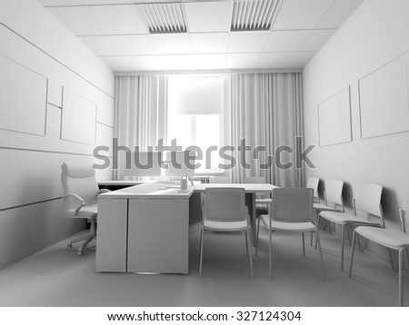 Office interior, 3d rendering
