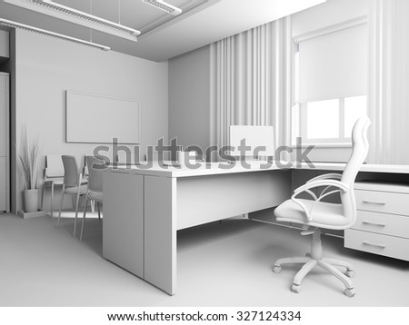 Office interior, 3d rendering - stock photo