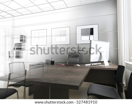 Office interior in classical style 3d rendering - stock photo