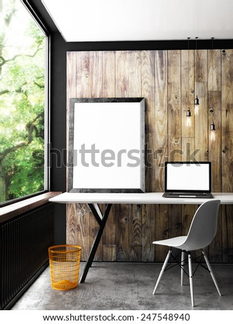 Office interior mock up poster, 3d illustration - stock photo
