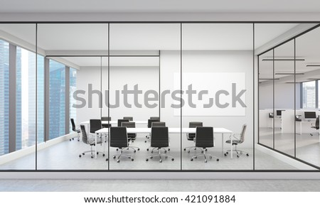 Office interior with blank whiteboard and Singapore city view. 3D Rendering - stock photo
