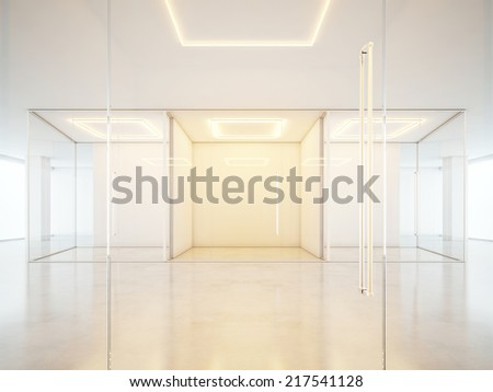 Office interior with empty rooms. Panoramic windows - stock photo