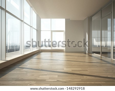 office interior with glass wall - stock photo