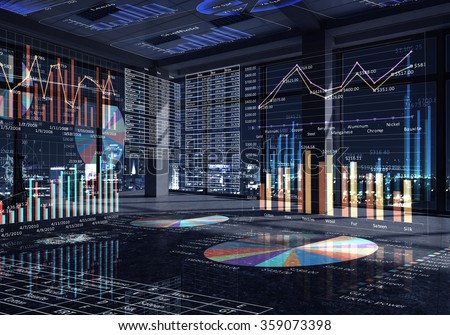 Office interior with graphs and diagrams - stock photo