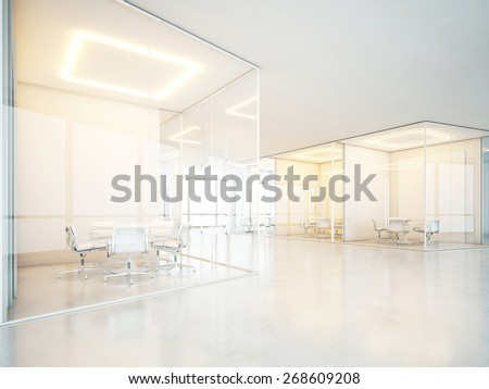 Office interior with meeting rooms and panoramic windows. 3D rendering - stock photo