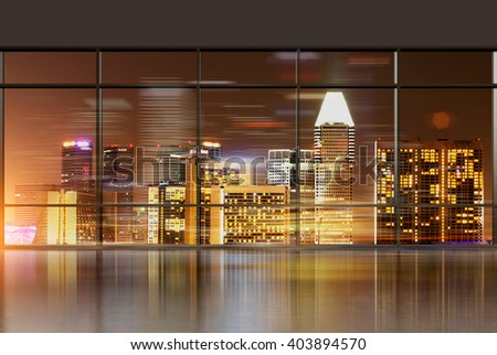 Office interior with panoramic windows revealing Singapore cityscape. 3D Rendering  - stock photo