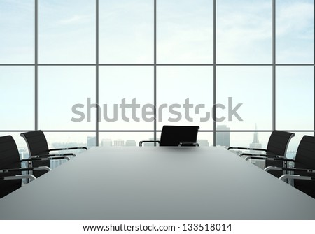 office interior with table and chairs - stock photo