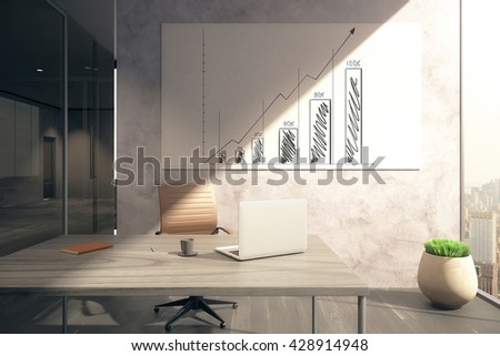 Office interior with workplace and business chart on whiteboard. 3D Rendering - stock photo
