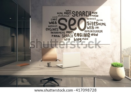 Office interior with workplace and SEO sketch on whiteboard. 3D Rendering - stock photo