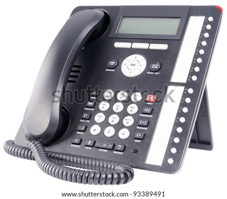 Office IP multi-button telephone set isolated on the white
