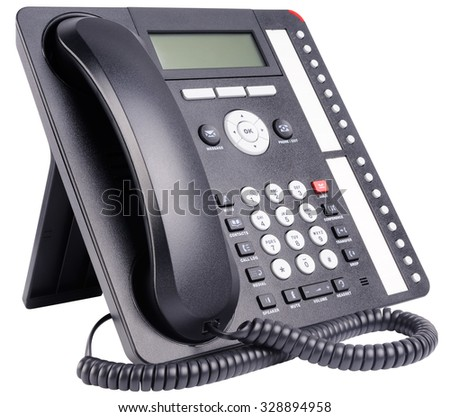 Office IP telephone set with LCD isolated on the white