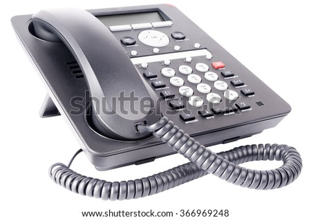 Office IP telephone set with LCD isolated on the white background - stock photo