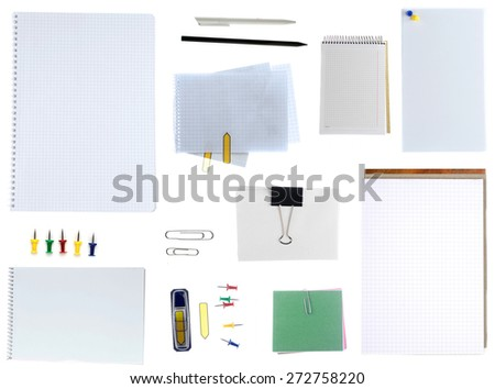 Office items on white background - stock photo