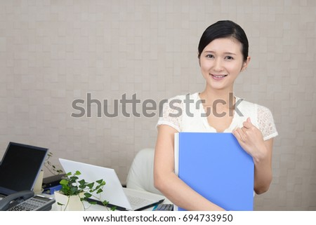 Office lady smiling