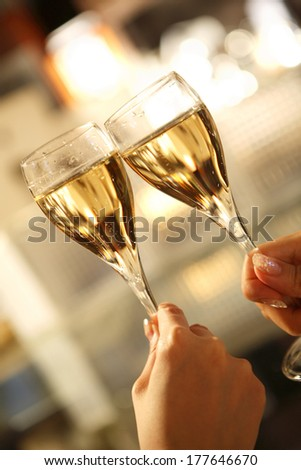 Office Lady toasting - stock photo
