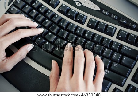 office lady typing - stock photo