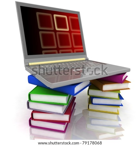 office laptop and books