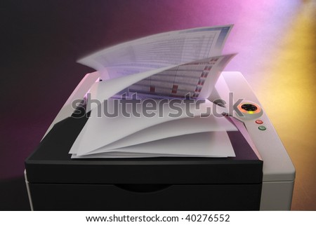 Office Laser color printer on colorful background - stock photo