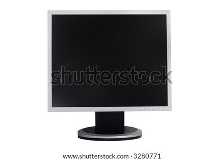 Office lcd monitor isolated with clipping path over white background