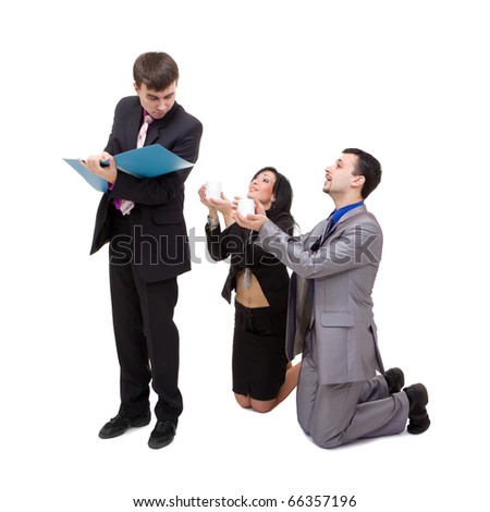 Office life. Business team posing on a white background. - stock photo