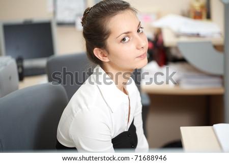Office life. Portrait of beautiful woman. - stock photo