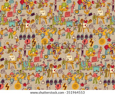 Office life seamless pattern business people. Wallpaper with working business people scenes. Color illustration.