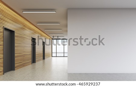 Office Lobby Interior With Wooden Walls And Large White Space. Concept Of  Business Building.