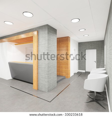 office lobby with a reception desk visualization - stock photo
