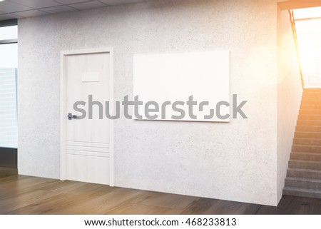 Office lobby with  door and large window, picture on  concrete wall. Concept of business building architecture. 3d rendering. Mock up