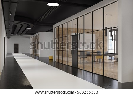 Office Lobby With Glass And White Walls, White And Black Concrete Floor And  Pipes Near