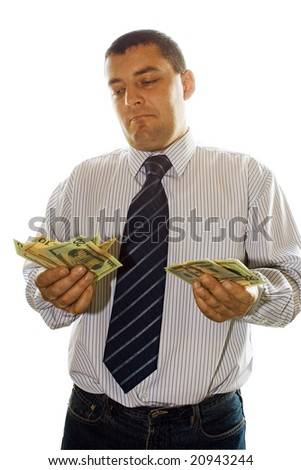 Office man hold money in hand on white background