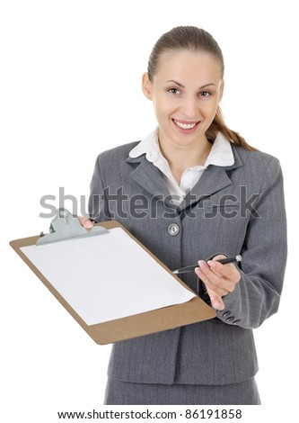 office manager, a woman gives a document to be signed