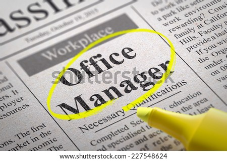 Office Manager Jobs in Newspaper. Job Search Concept. - stock photo