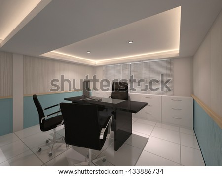 office meeting room 3D interior render  illustration