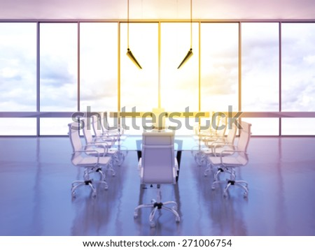 Office meeting room with panoramic view. High resolution.  - stock photo