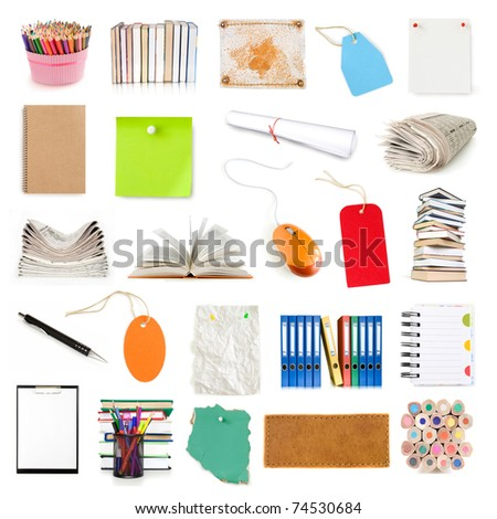 office notebooks, books, labels and pages collection isolated on white - stock photo