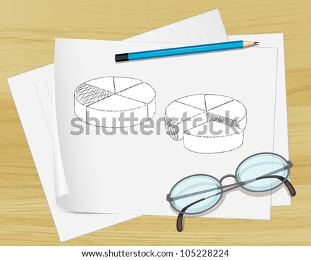 Office notes on paper with glasses - EPS VECTOR format also available in my portfolio. - stock photo
