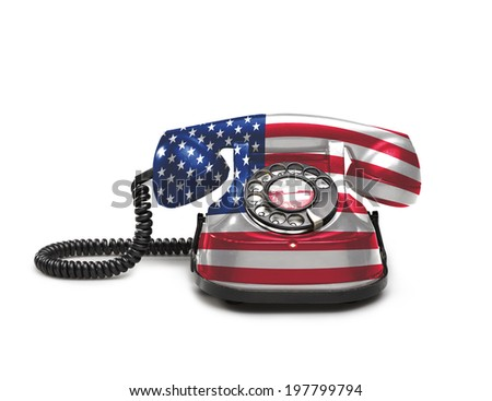 Office: old and vintage telephone with the union USA on white background - stock photo