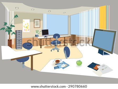 Office open space managers clerks jobs stock illustration