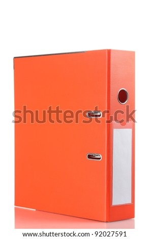 Office orange folder isolated on white - stock photo
