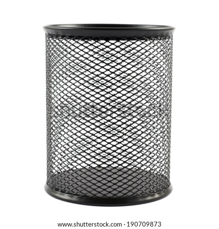 Office paper black empty trash bin isolated over the white background