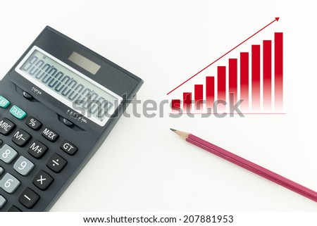 Office pencil and a calculator on white background