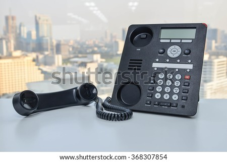 Office Phone - IP Phone technology for business - stock photo
