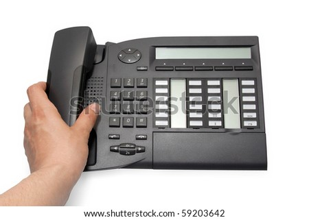 Office phone on white background with clipping path