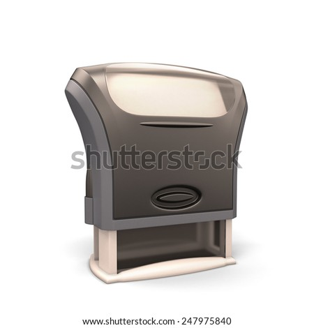 Office plastic stamp isolated on white background. 3d render image. - stock photo